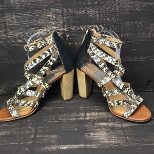 Dolce Vita Wood Heel Strappy Snakeskin Heels 8.5